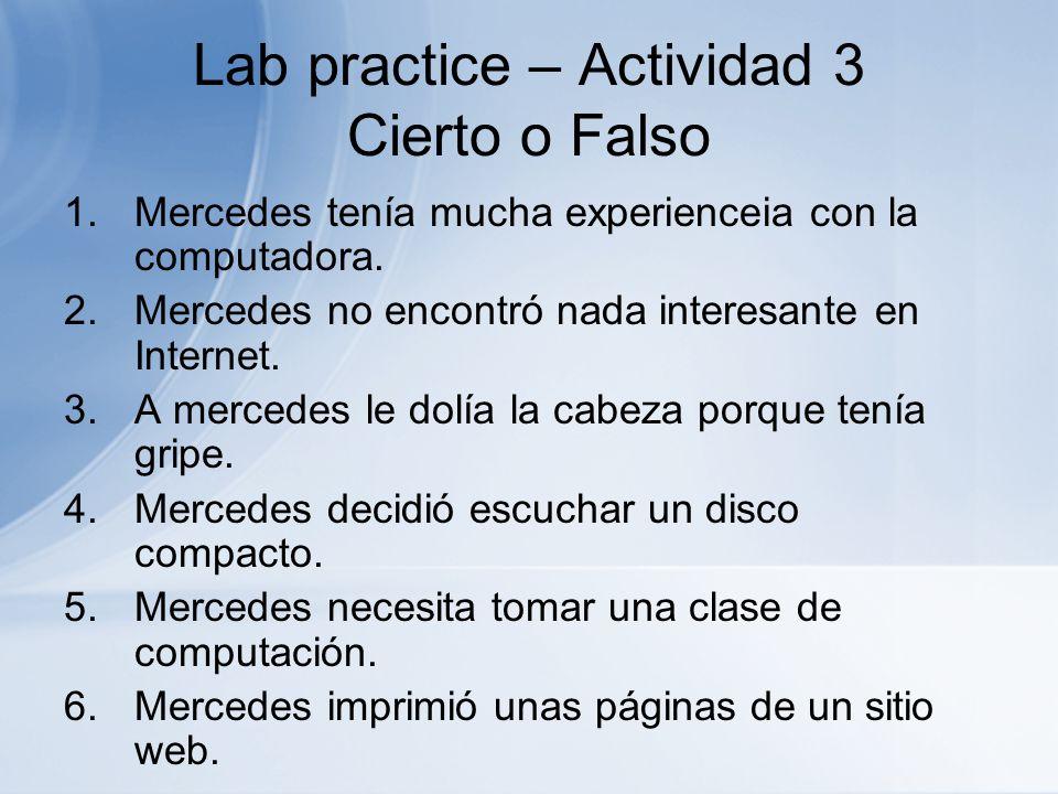 Lab practice – Actividad 3 Cierto o Falso