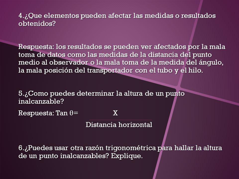 4.¿Que elementos pueden afectar las medidas o resultados obtenidos