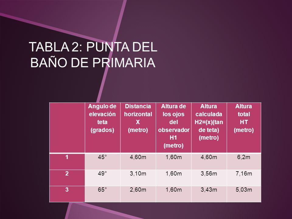 TABLA 2: PUNTA DEL BAÑO DE PRIMARIA