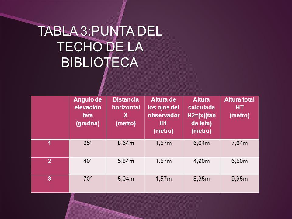 TABLA 3:PUNTA DEL TECHO DE LA BIBLIOTECA