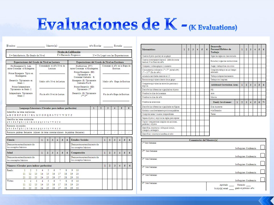 Evaluaciones de K - (K Evaluations)