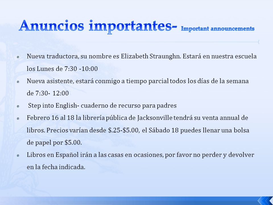 Anuncios importantes- Important announcements