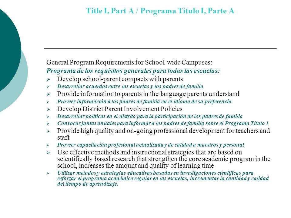 Title I, Part A / Programa Título I, Parte A