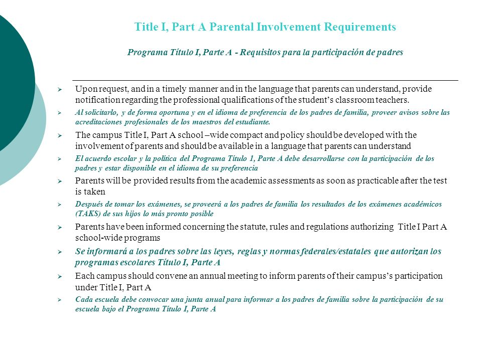 Title I, Part A Parental Involvement Requirements Programa Título I, Parte A - Requisitos para la participación de padres