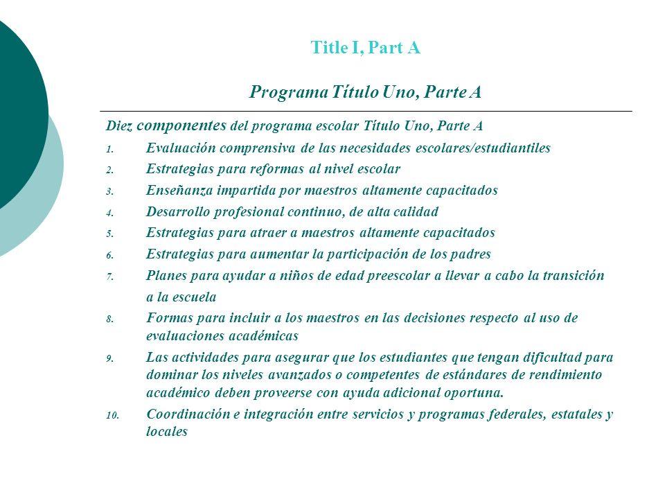 Title I, Part A Programa Título Uno, Parte A