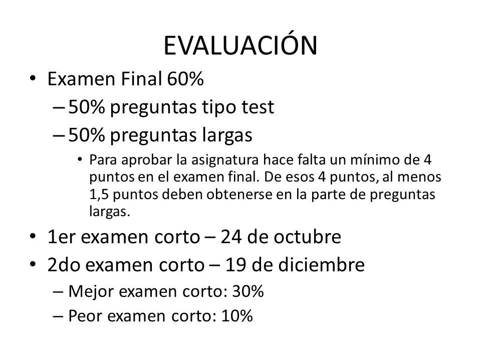 EVALUACIÓN Examen Final 60% 50% preguntas tipo test