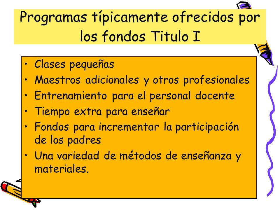 Programas típicamente ofrecidos por los fondos Titulo I