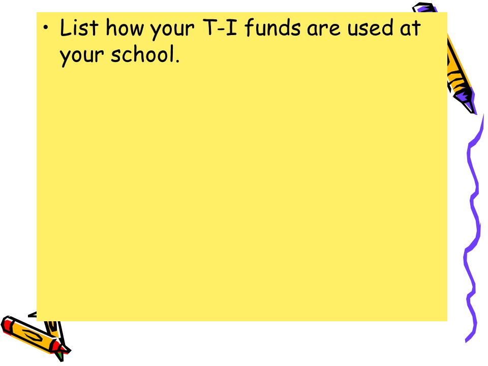 List how your T-I funds are used at your school.