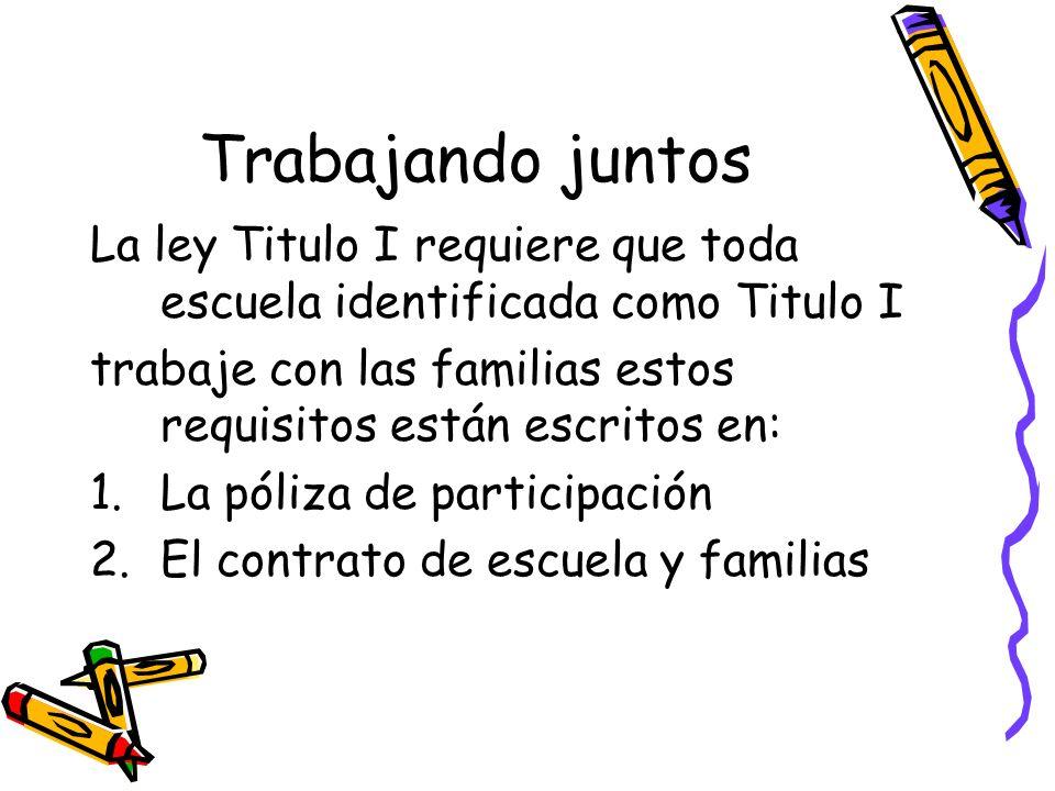 Trabajando juntosLa ley Titulo I requiere que toda escuela identificada como Titulo I. trabaje con las familias estos requisitos están escritos en: