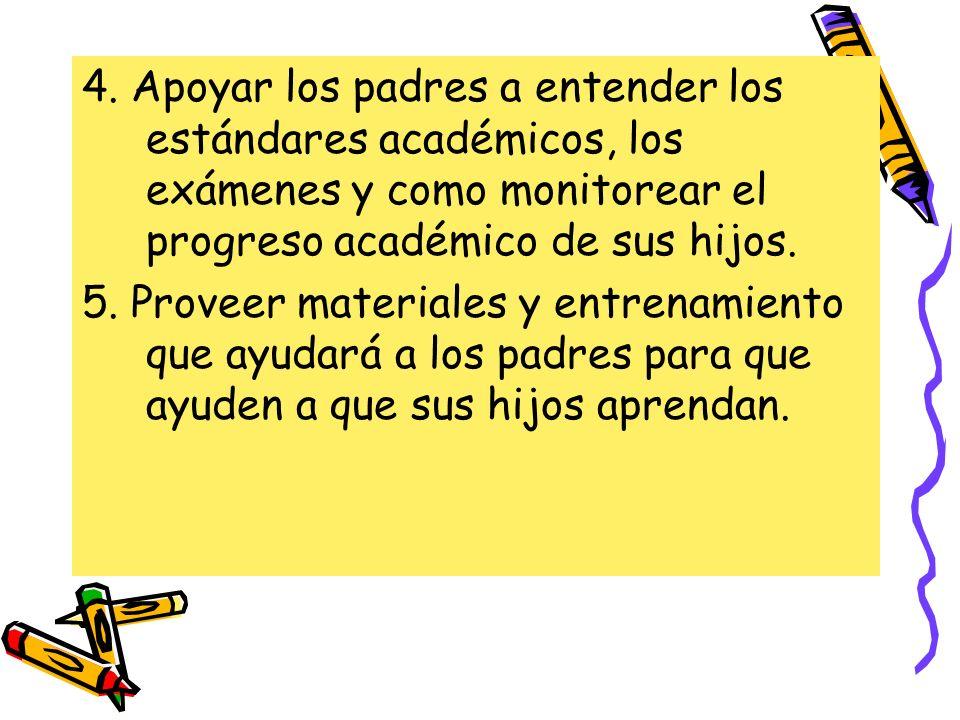 4. Apoyar los padres a entender los estándares académicos, los exámenes y como monitorear el progreso académico de sus hijos.