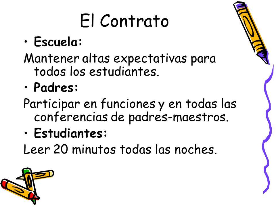 El Contrato Escuela: Mantener altas expectativas para todos los estudiantes. Padres: