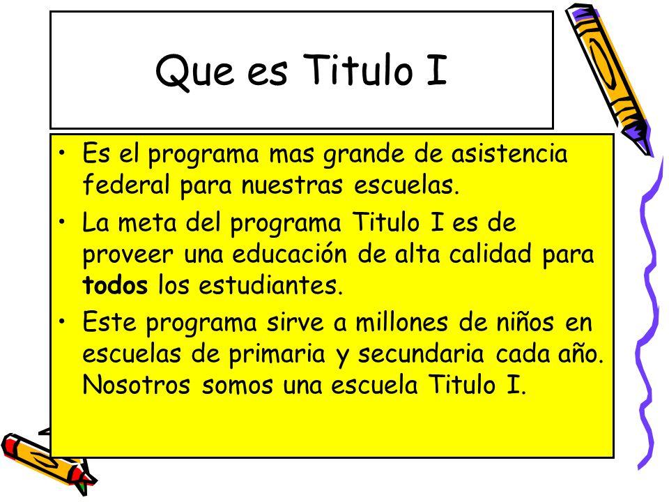 Que es Titulo I Es el programa mas grande de asistencia federal para nuestras escuelas.