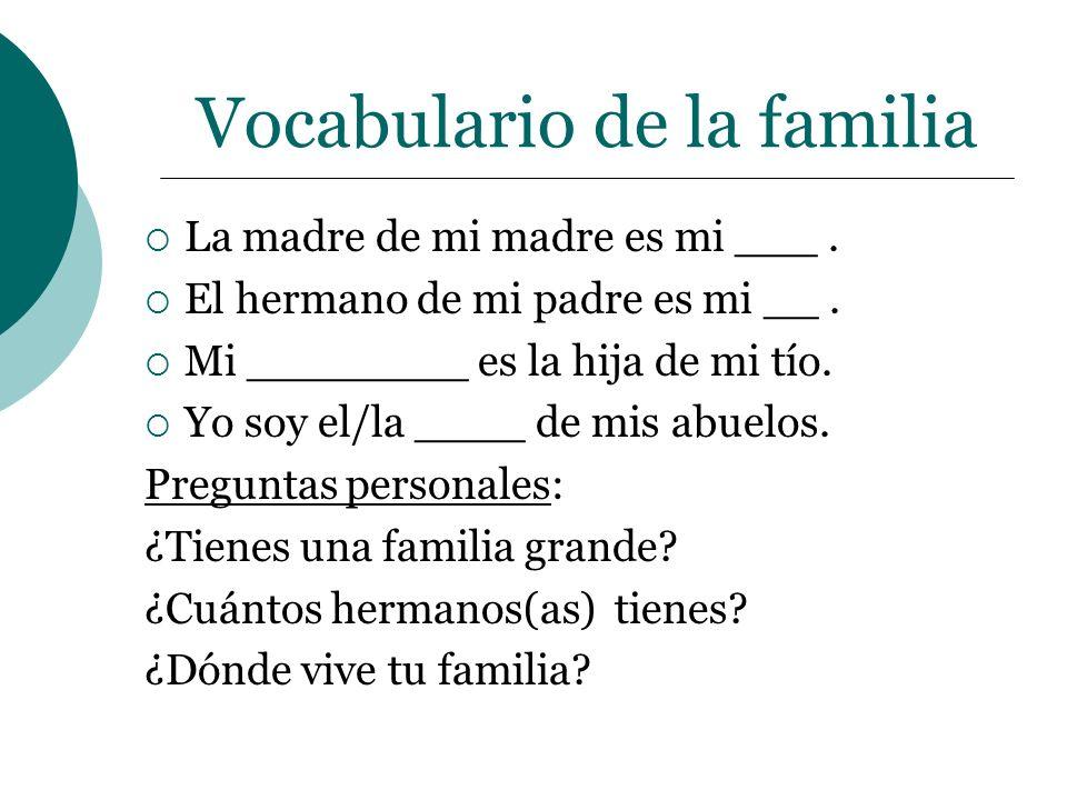 Vocabulario de la familia