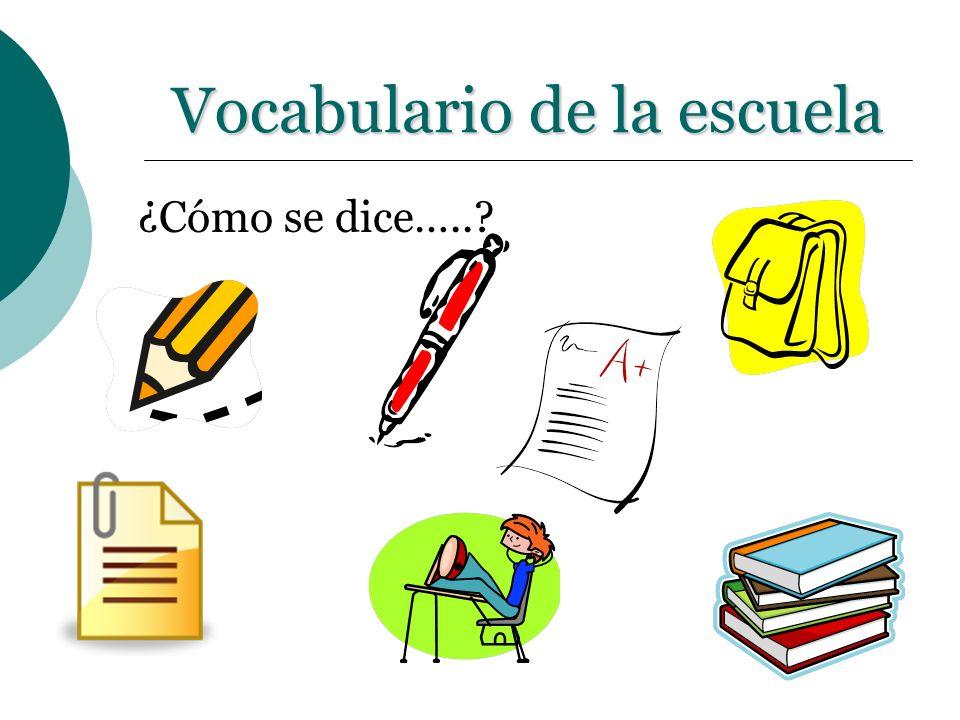 Vocabulario de la escuela