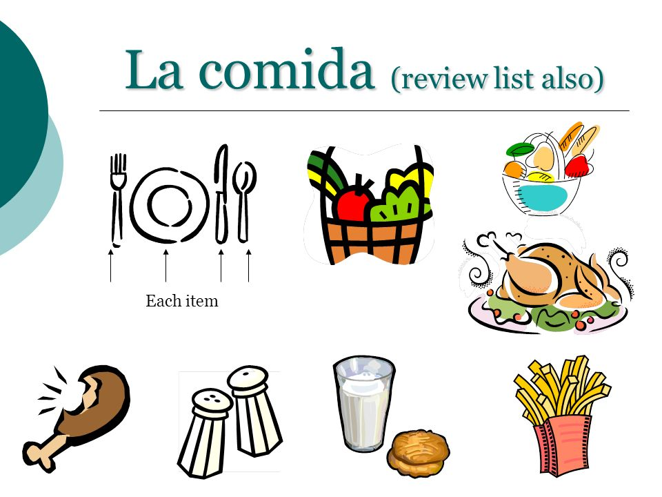 La comida (review list also)