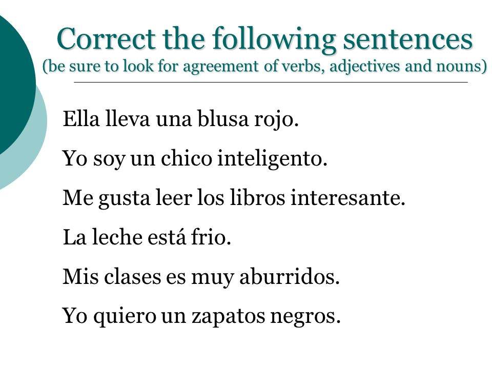 Correct the following sentences (be sure to look for agreement of verbs, adjectives and nouns)