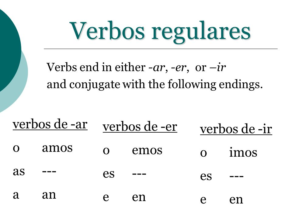 Verbos regulares verbos de -ar verbos de -er verbos de -ir o amos