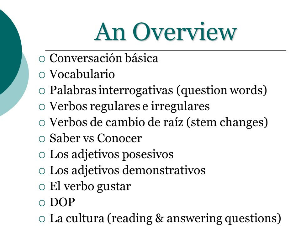 An Overview Conversación básica Vocabulario