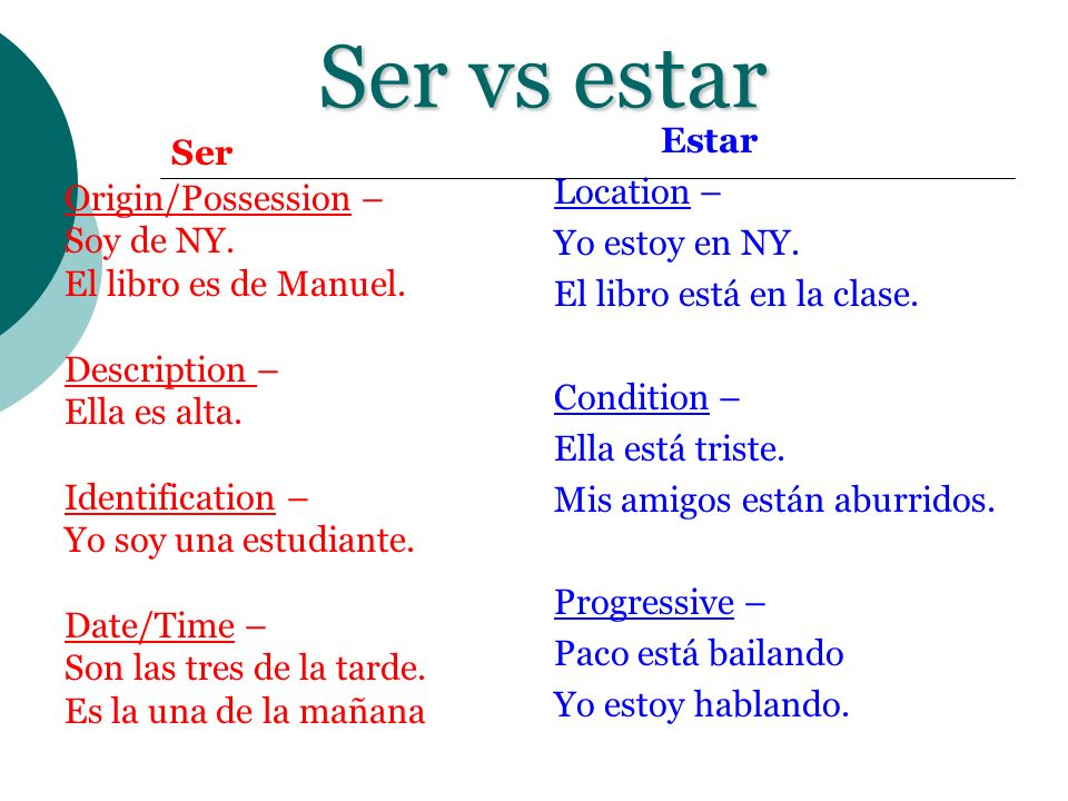 Ser vs estar Ser Origin/Possession – Soy de NY. El libro es de Manuel.