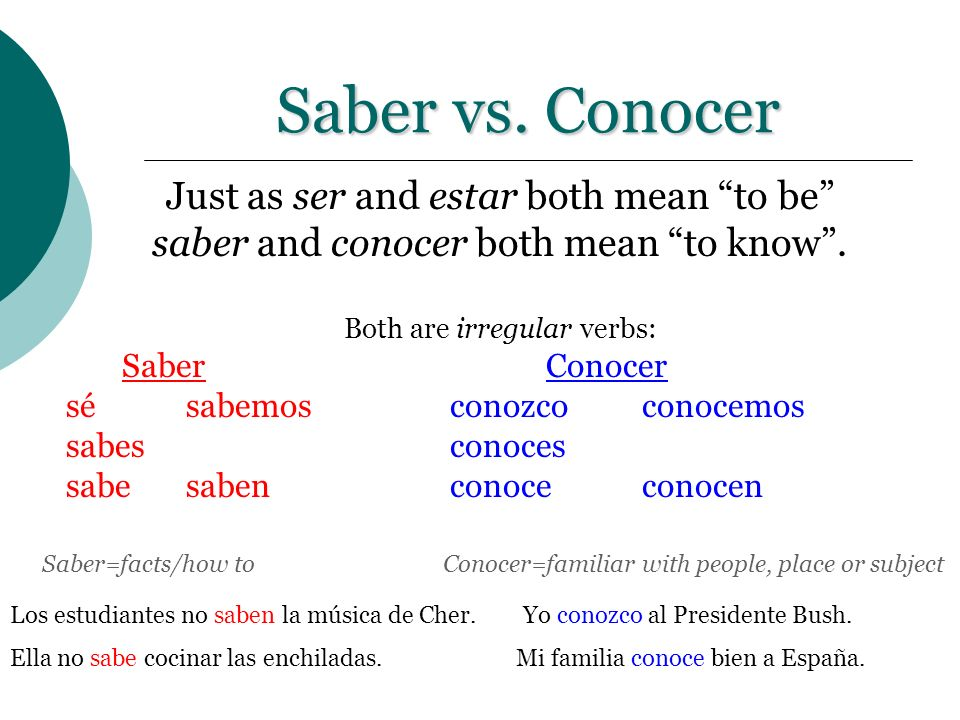 Saber vs. Conocer Just as ser and estar both mean to be