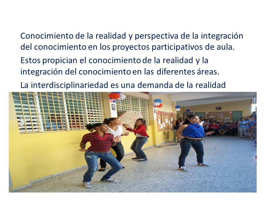 Conocimiento de la realidad y perspectiva de la integración del conocimiento en los proyectos participativos de aula.
