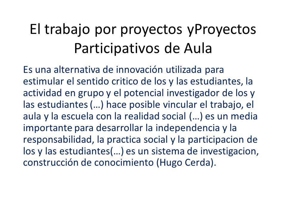 El trabajo por proyectos yProyectos Participativos de Aula
