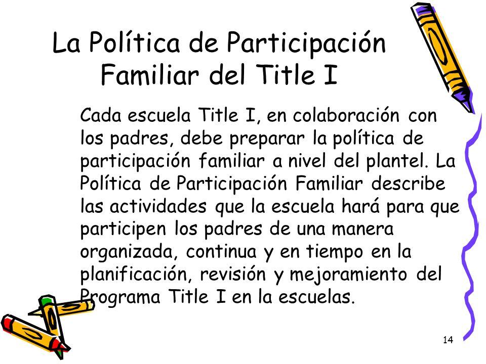 La Política de Participación Familiar del Title I