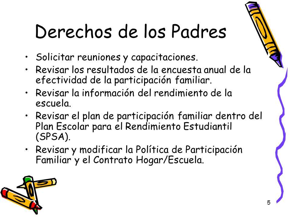 Derechos de los Padres Solicitar reuniones y capacitaciones.