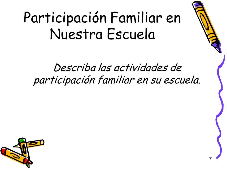 Participación Familiar en Nuestra Escuela