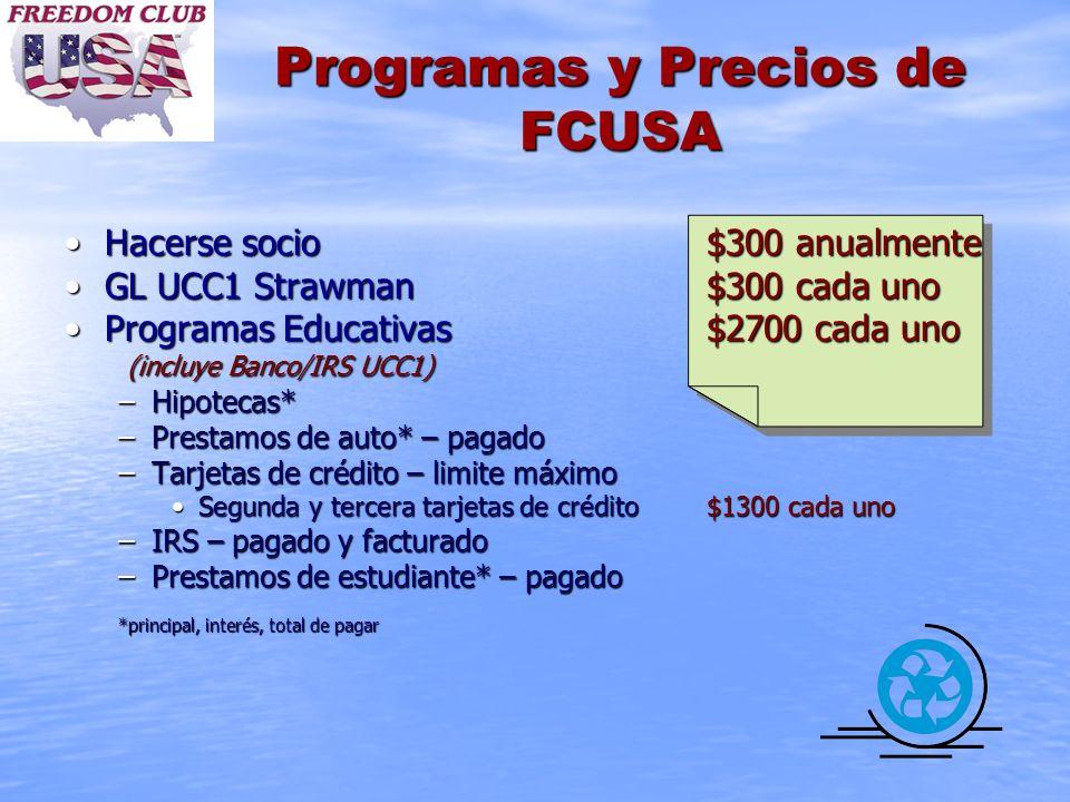 Programas y Precios de FCUSA