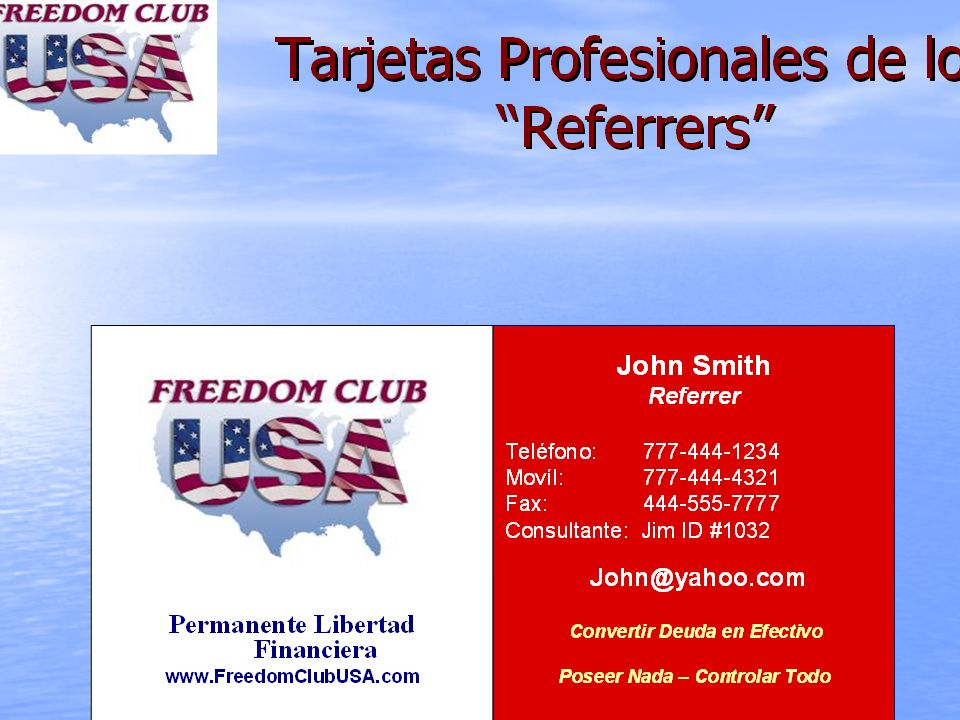 As a great way to spread the word our referrers may order business cards.