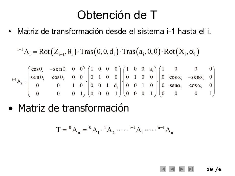 Obtención de T Matriz de transformación desde el sistema i-1 hasta el i.