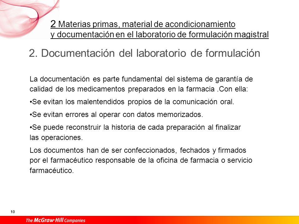 2. Documentación del laboratorio de formulación