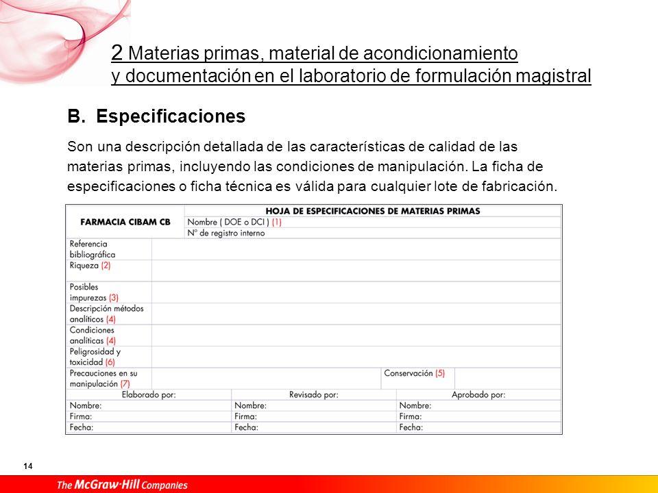 B. Especificaciones