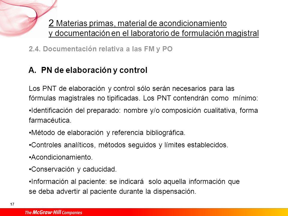 A. PN de elaboración y control