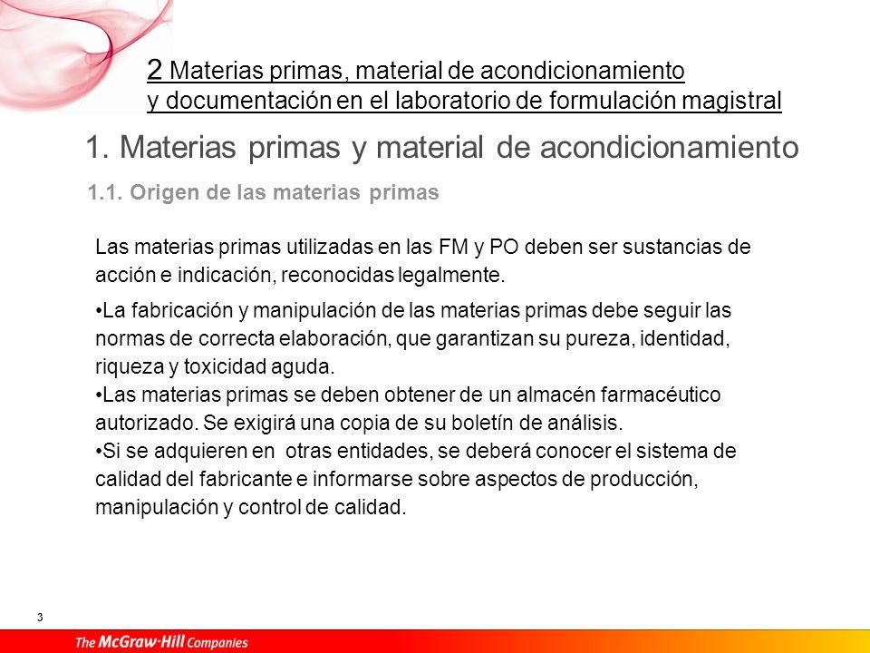 1. Materias primas y material de acondicionamiento