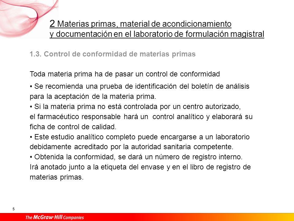 1.3. Control de conformidad de materias primas