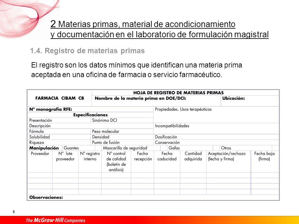 1.4. Registro de materias primas
