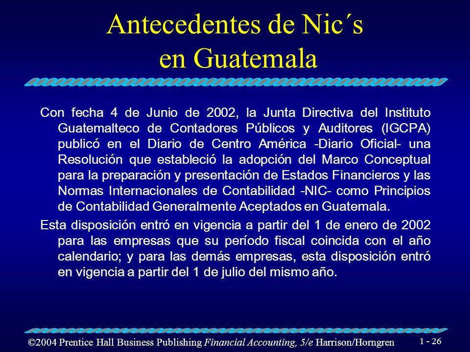 Antecedentes de Nic´s en Guatemala