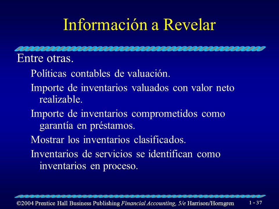 Información a Revelar Entre otras. Políticas contables de valuación.