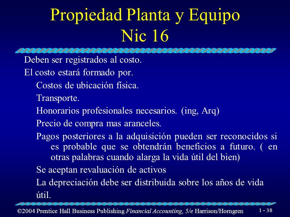 Propiedad Planta y Equipo Nic 16