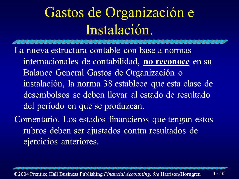 Gastos de Organización e Instalación.