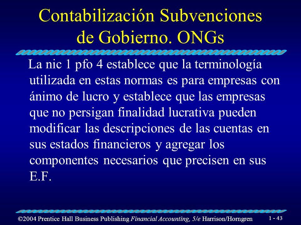 Contabilización Subvenciones de Gobierno. ONGs
