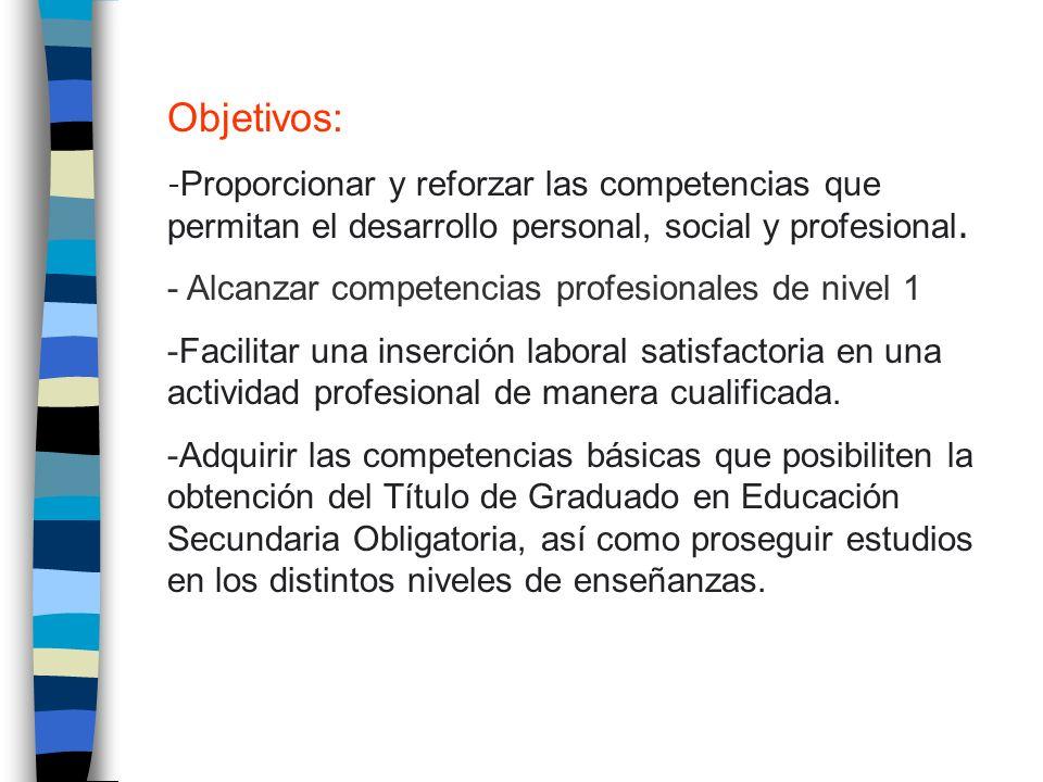 Objetivos: - Alcanzar competencias profesionales de nivel 1