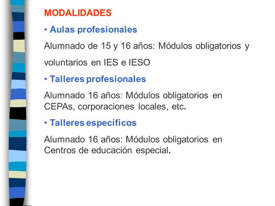 MODALIDADES • Aulas profesionales. Alumnado de 15 y 16 años: Módulos obligatorios y. voluntarios en IES e IESO.