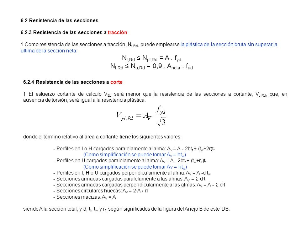 Nt,Rd ≤ Npl,Rd = A . fyd Nt,Rd ≤ Nu,Rd = 0,9 . Aneta . fud