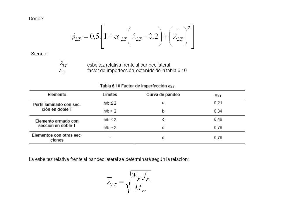 Donde: Siendo: esbeltez relativa frente al pandeo lateral. aLT factor de imperfección, obtenido de la tabla 6.10.