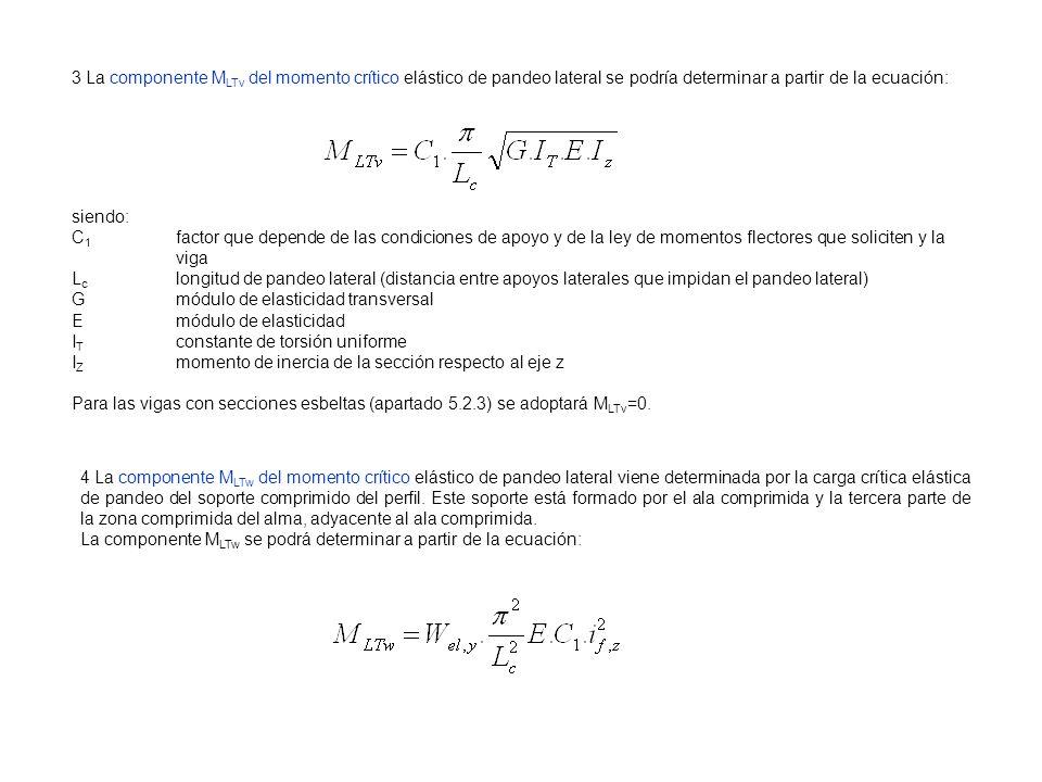 3 La componente MLTv del momento crítico elástico de pandeo lateral se podría determinar a partir de la ecuación: