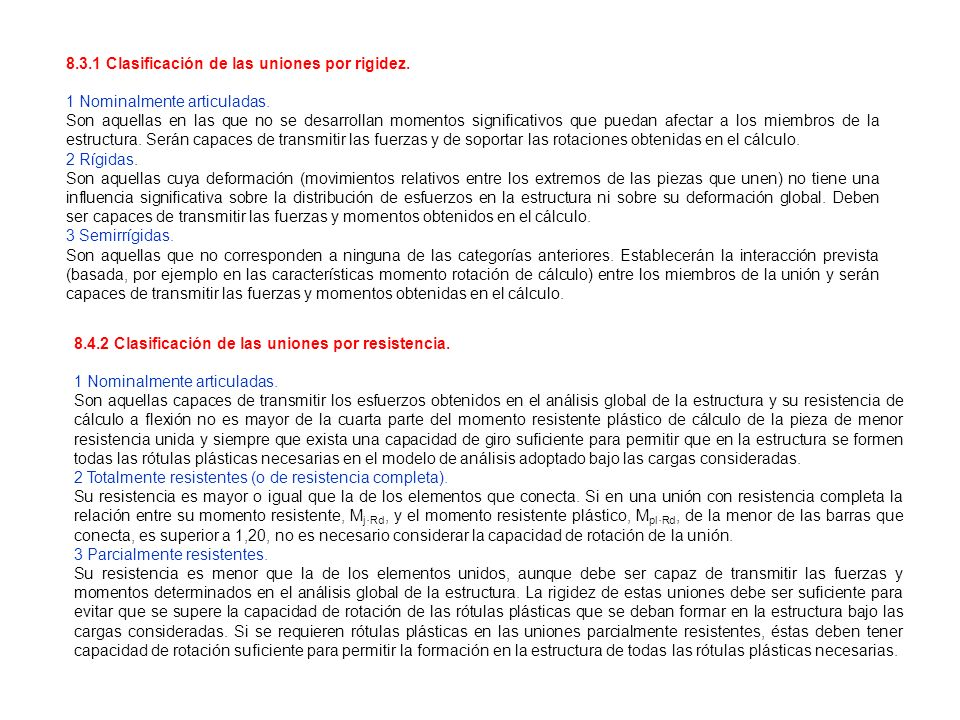 8.3.1 Clasificación de las uniones por rigidez.