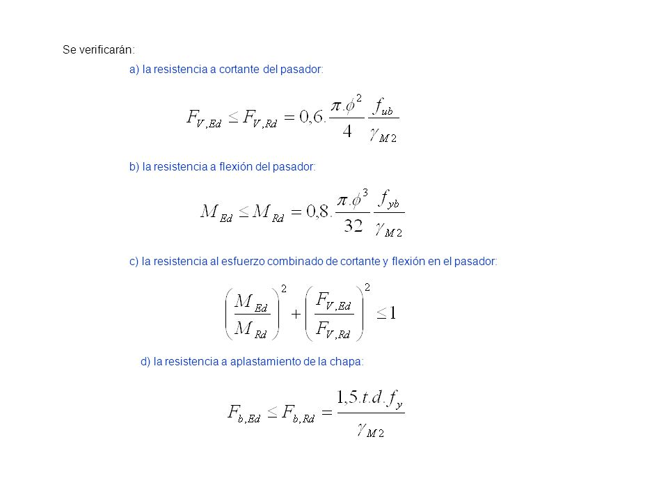 Se verificarán: a) la resistencia a cortante del pasador: b) la resistencia a flexión del pasador: